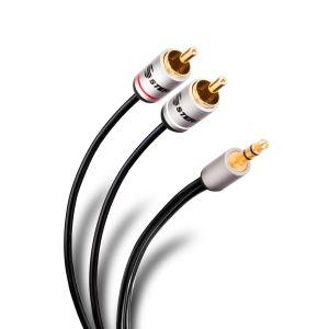 Cable plug 3,5 mm a 2 plug RCA de 90 cm, ultradelgado y conectores reforzados