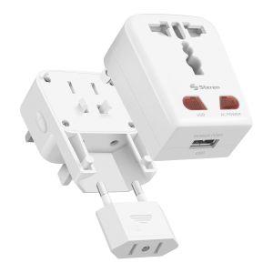 Adaptador universal de contactos para viaje con cargador USB