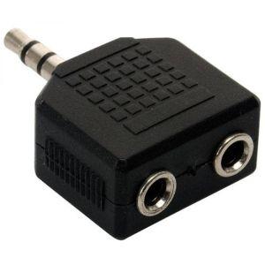 Adaptador de plug 3,5 mm a 2 jacks 3,5 mm, estéreo