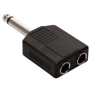 Adaptador de plug 6,3 mm a 2 jacks 6,3 mm, monoaural