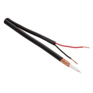 Cable coaxial siamés RG59U, 95% malla de cobre sin estañar