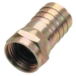 """Conector macho tipo """"F"""" para cable RG6, de latón, con anillo y gel de silicón para intemperie"""