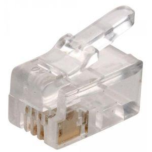 Plug telefónico modular RJ9, de 4 contactos