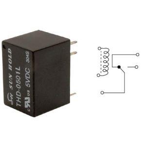 Relevador electrónico miniatura de 1 polo, 2 tiros (SPDT) y bobina de 12 Vcc