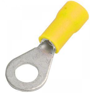 Terminal de latón de ojillo, con forro color amarillo
