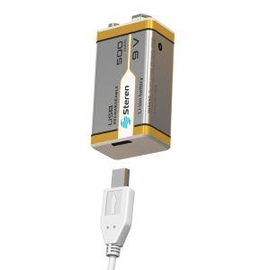 Batería recargable USB Li-Ion tipo 9V (cuadrada), de 500 mAh