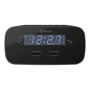 Radio reloj despertador digital FM con doble cargador USB