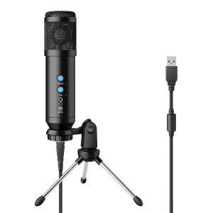 Micrófono USB profesional de condensador, con control de volumen y efecto eco