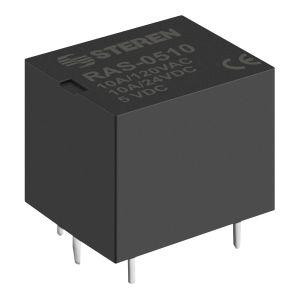 Relevador compacto de 1 polo, 2 tiros (SPDT) y bobina de 5 Vcc